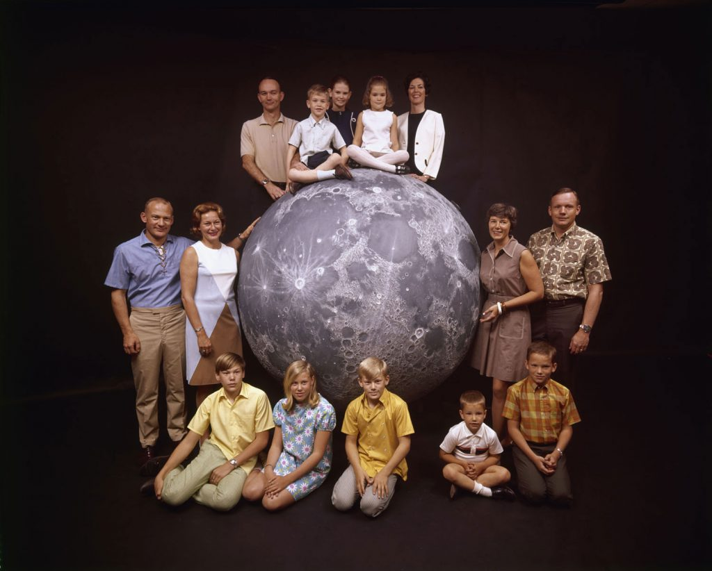 Not published in LIFE. The Apollo 11 astronauts and their families pose with a scale model of the moon, spring 1969.