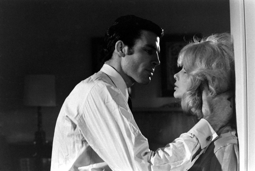 Robert Campbell during a kissing test, opposite actress France Anglade, 1967.