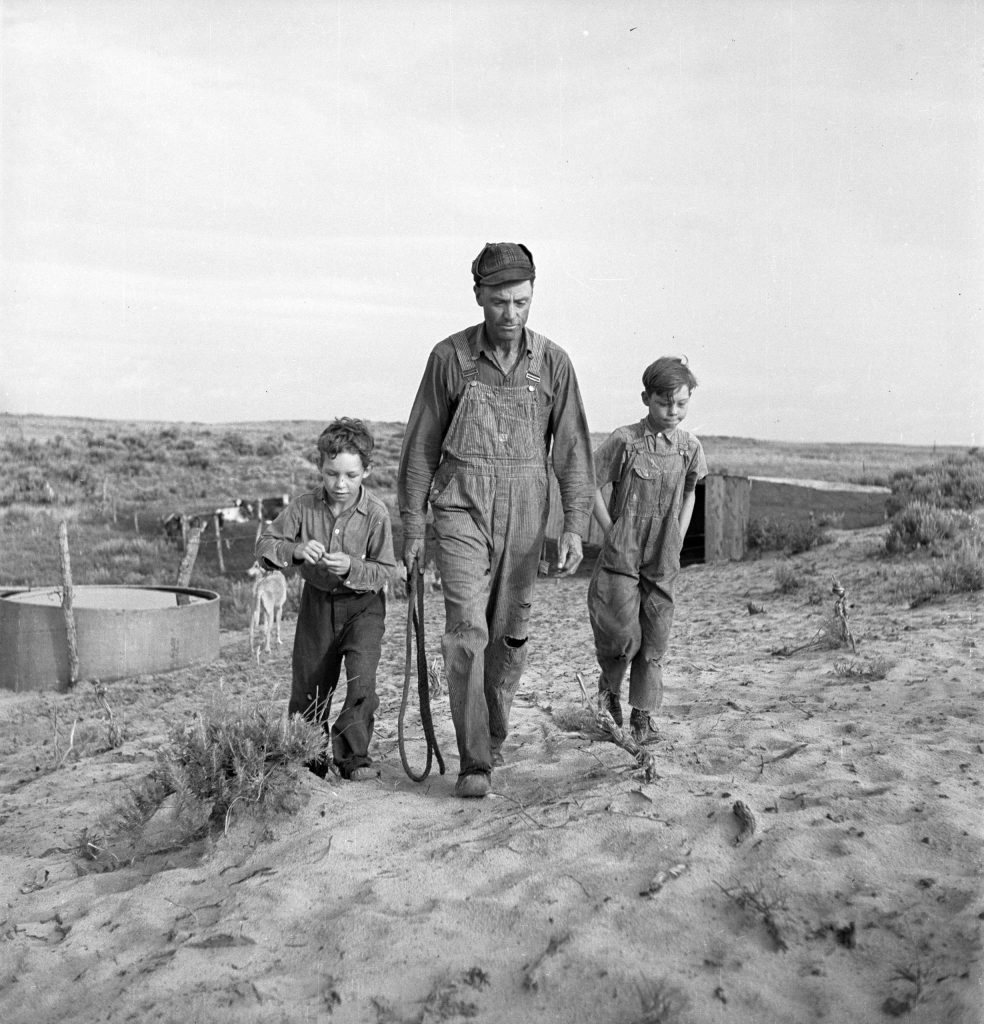 Farmer and sons, Oklahoma, 1942.
