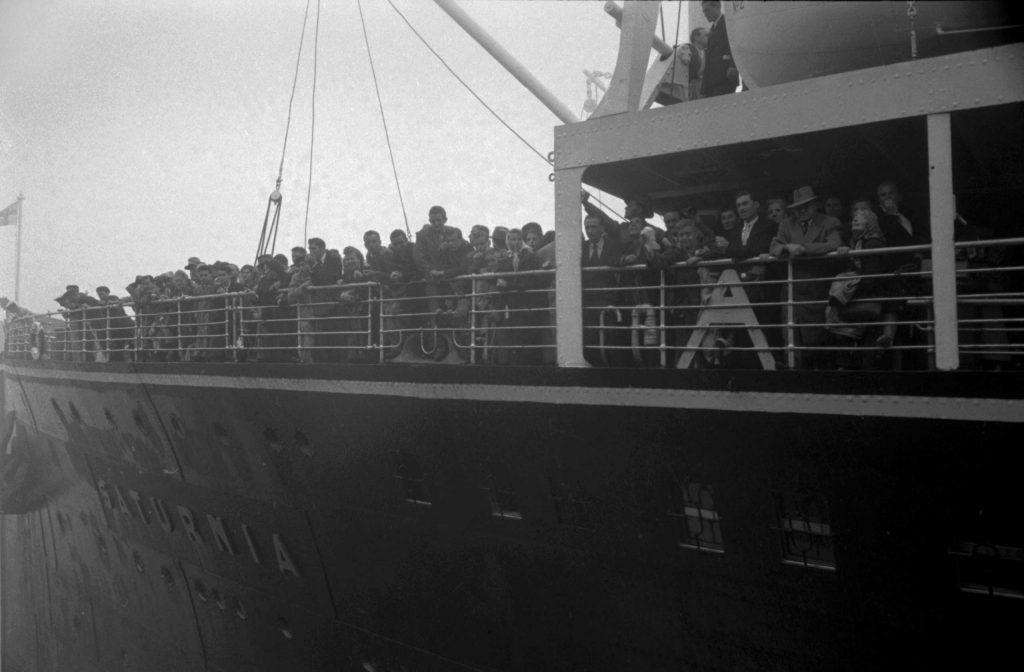 The Saturnia docks at at Ellis Island, 1950.