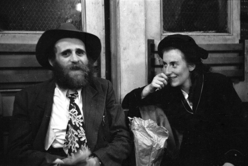 Rachel Pewzner, 20, and her 24-year-old husband, Schulim, at Ellis Island, 1950.