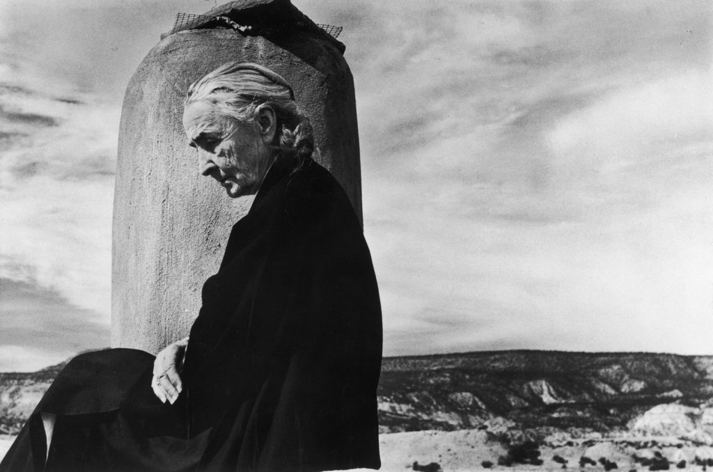 Georgia O'Keeffe photographed on the roof of her Ghost Ranch home in New Mexico, 1967.