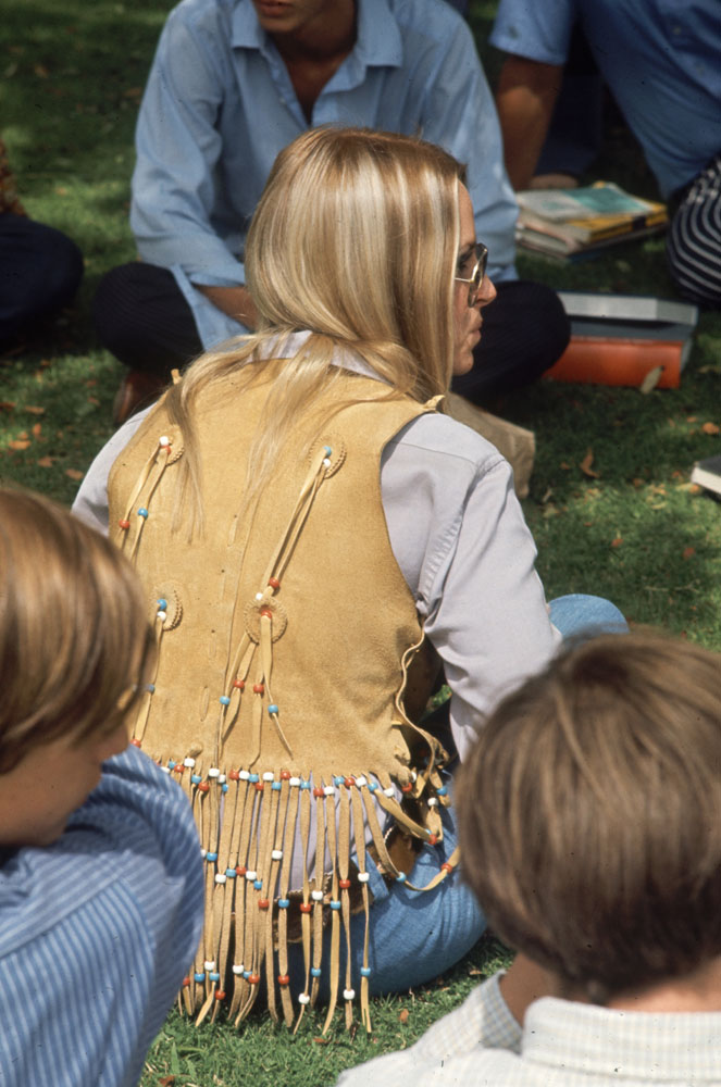Southern California high schooler wears a buckskin vest and other hippie fashions, 1969.
