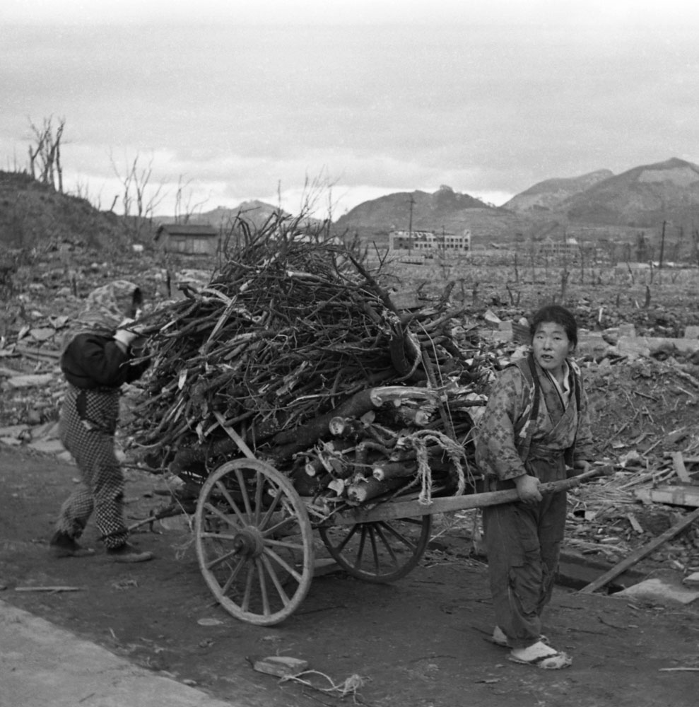 "Nagasaki, 1945, a few months after an American B-29 dropped an atomic bomb, codenamed ""Fat Man,"" on the city."