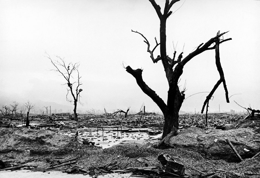 Neighborhood reduced to rubble by atomic bomb blast, Hiroshima, 1945.