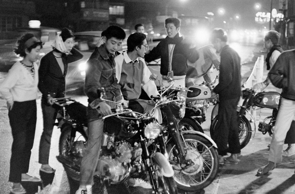 "A group of ""motorcycle kids,"" one of numerous subsets of teen subcultures in Tokyo, 1964."