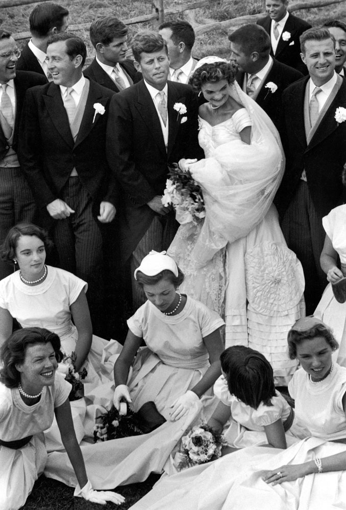 John and Jackie Kennedy with ushers, bridesmaids and flower girls, Newport, R.I., Sept. 12, 1953.