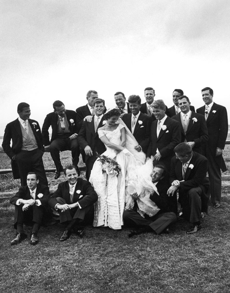 John and Jackie Kennedy with groomsmen and other guests on their wedding day, Newport, R.I., Sept. 12, 1953.