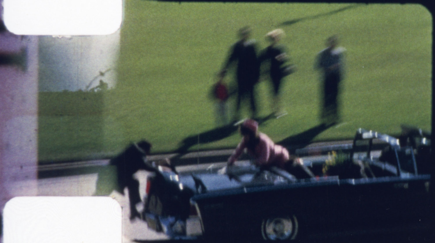 Film still from Abraham Zapruder's home movie of JFK's assassination in Dallas, Nov. 22, 1963.