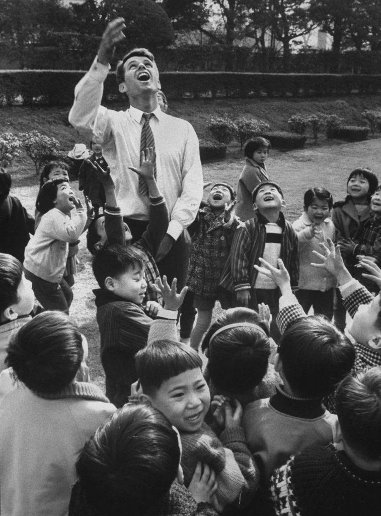 Robert F. Kennedy with Japanese children, 1962.