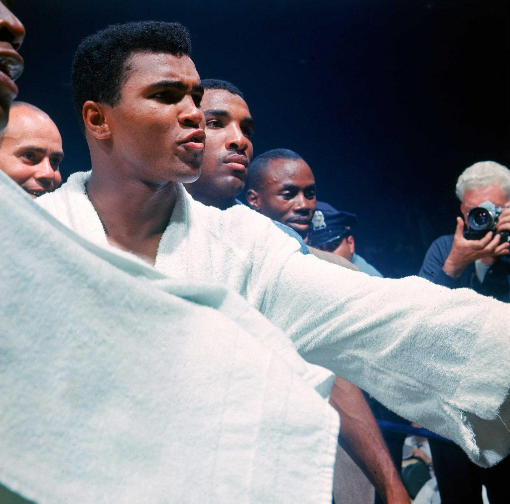 """Muhammad Ali after his title defense against Sonny Liston (the """"Phantom Punch"""" bout), Lewiston, Maine, 1965."""