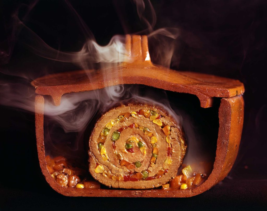 Argentinian matambre, a slice of beef rolled with vegetables and chilies, 1966.