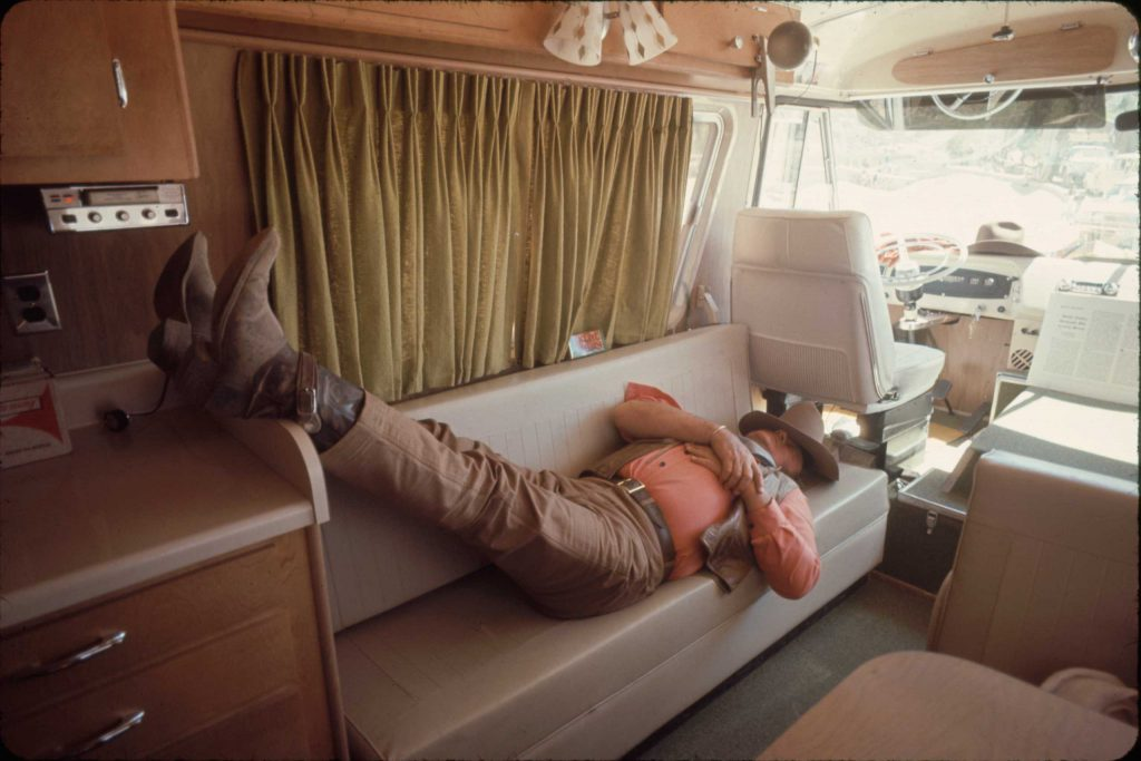John Wayne during a break in the filming of The Undefeated, 1969.