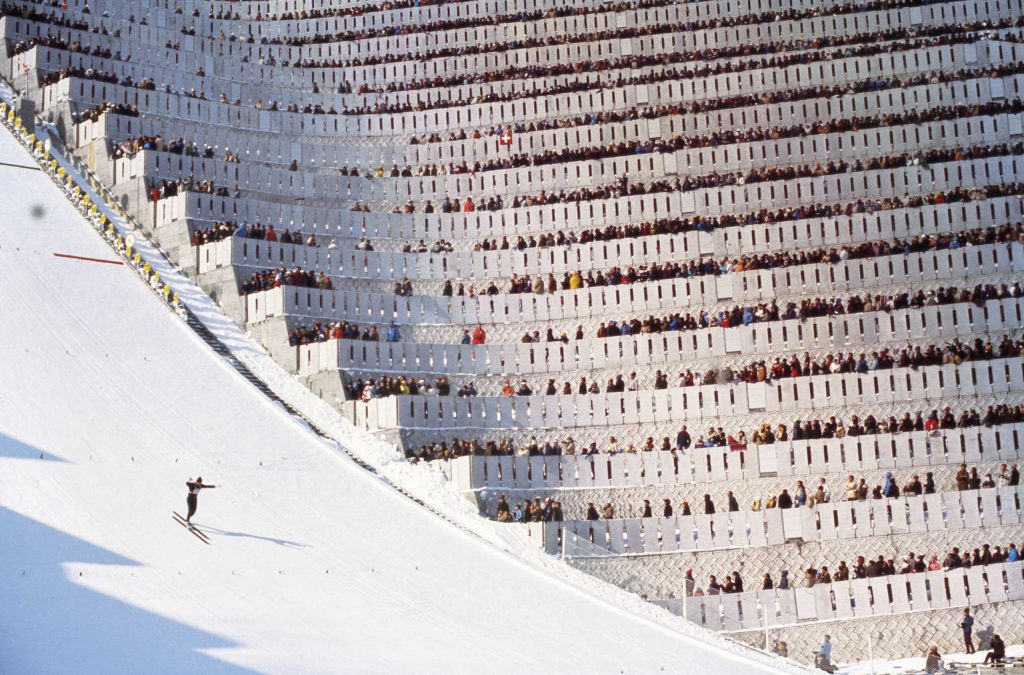 The 90-meter ski jump at the 1972 Olympics in Japan.