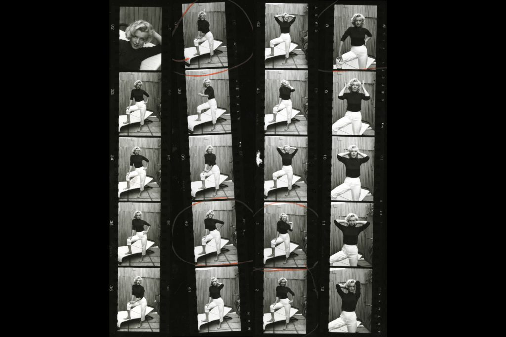 Black and white contact sheet from Alfred Eisenstaedt's 1953 photo shoot with Marilyn Monroe.