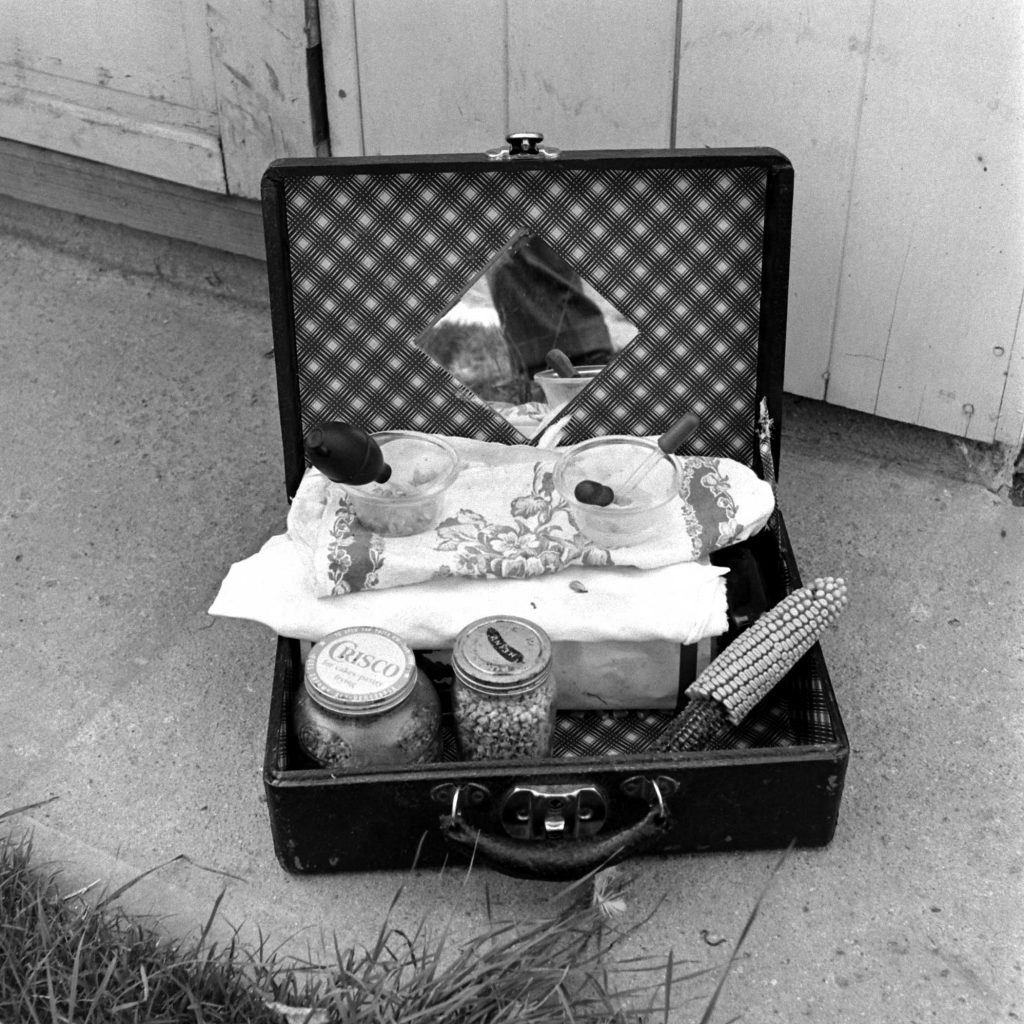 A picture of the suitcase containing the tools for feeding Mike the headless chicken, including an eye dropper that was used to provide sustenance through the hole atop his torso where his head used to be.