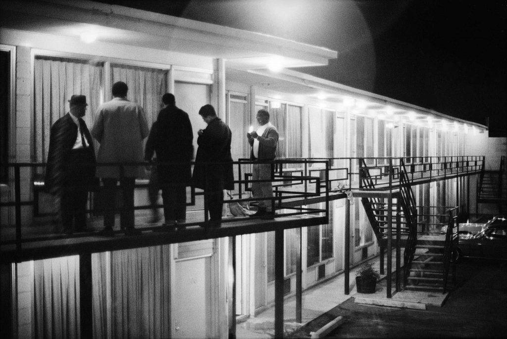 Colleagues gather on the balcony outside the Lorraine Motel's room 306, just a few feet from where Dr. King was shot, April 4, 1968.