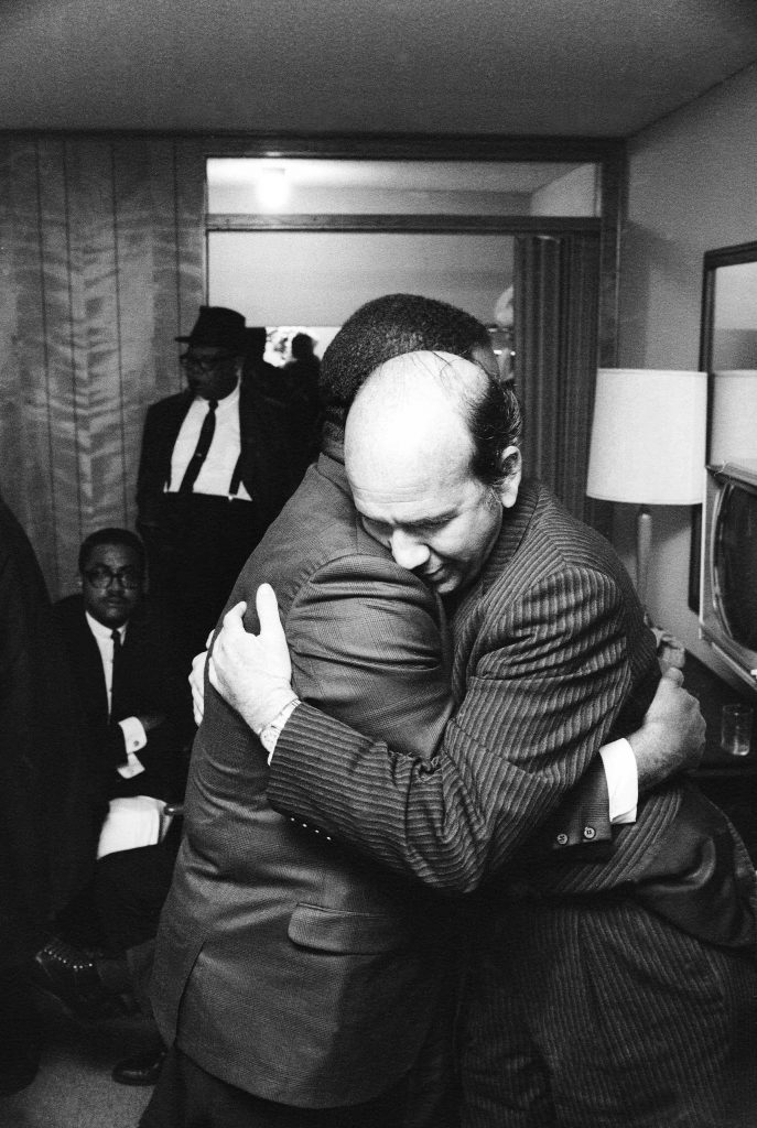"Ralph Abernathy and Will D. Campbell, a long-time friend and civil rights activist, embrace in Dr. King's room. ""I was documenting a momentous event,"" Groskinsky told LIFE.com, ""and I thought that at any time I was going to be asked to leave, so I did wh"