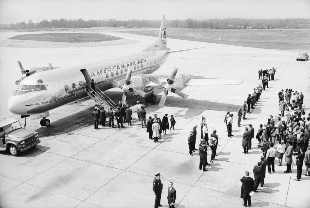 "An airplane dispatched by the U.S. government to retrieve Dr. King's body and return it to Atlanta, Ga., waits on the tarmac in Memphis, Tenn., the day after MLK's assassination. ""Here we were, two white guys in the Deep South right after the murder of th"