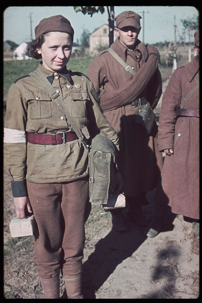 Polish soldiers and a Red Cross nurse captured during the invasion of Poland, 1939.