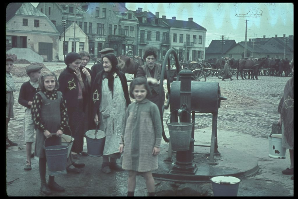 Jewish women and children in Gostynin, Poland, after the German invasion, 1939.
