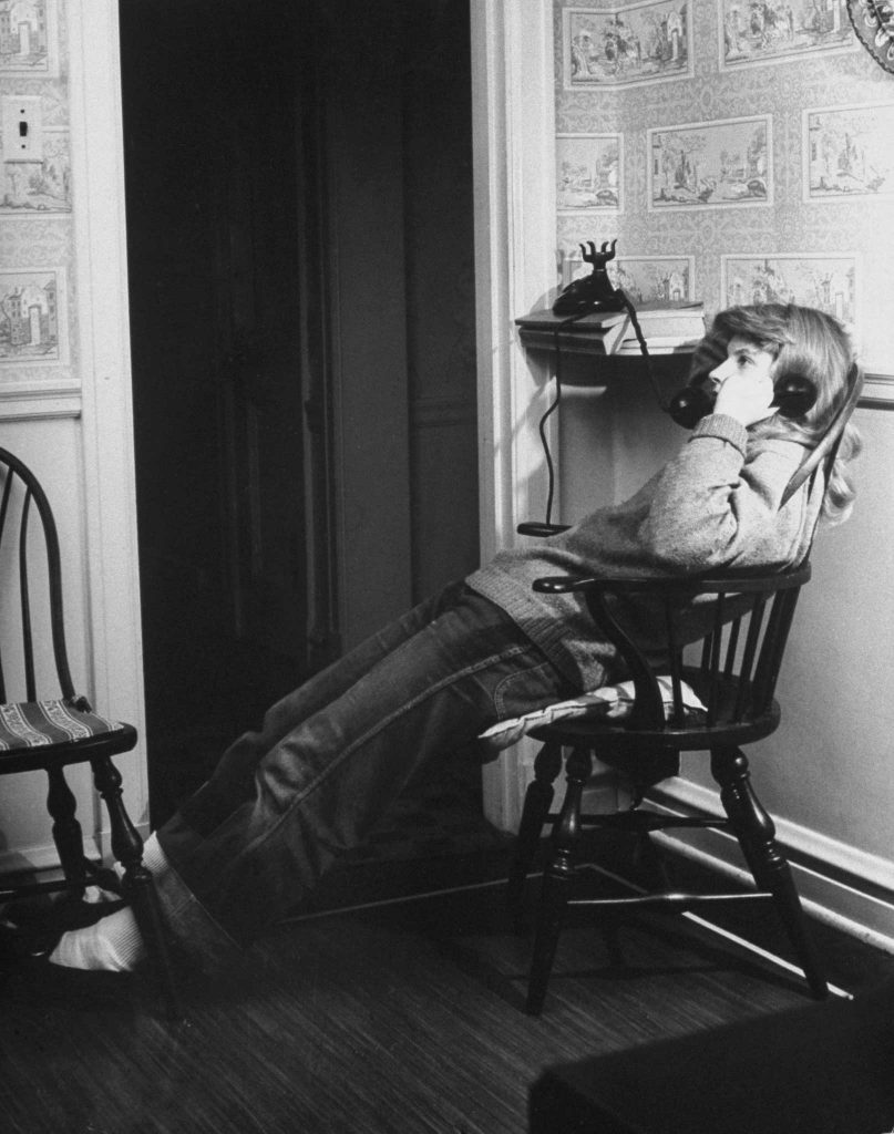 One of a series of pictures from the Dec. 11, 1944, issue of LIFE depicting a teenage girl on the phone.