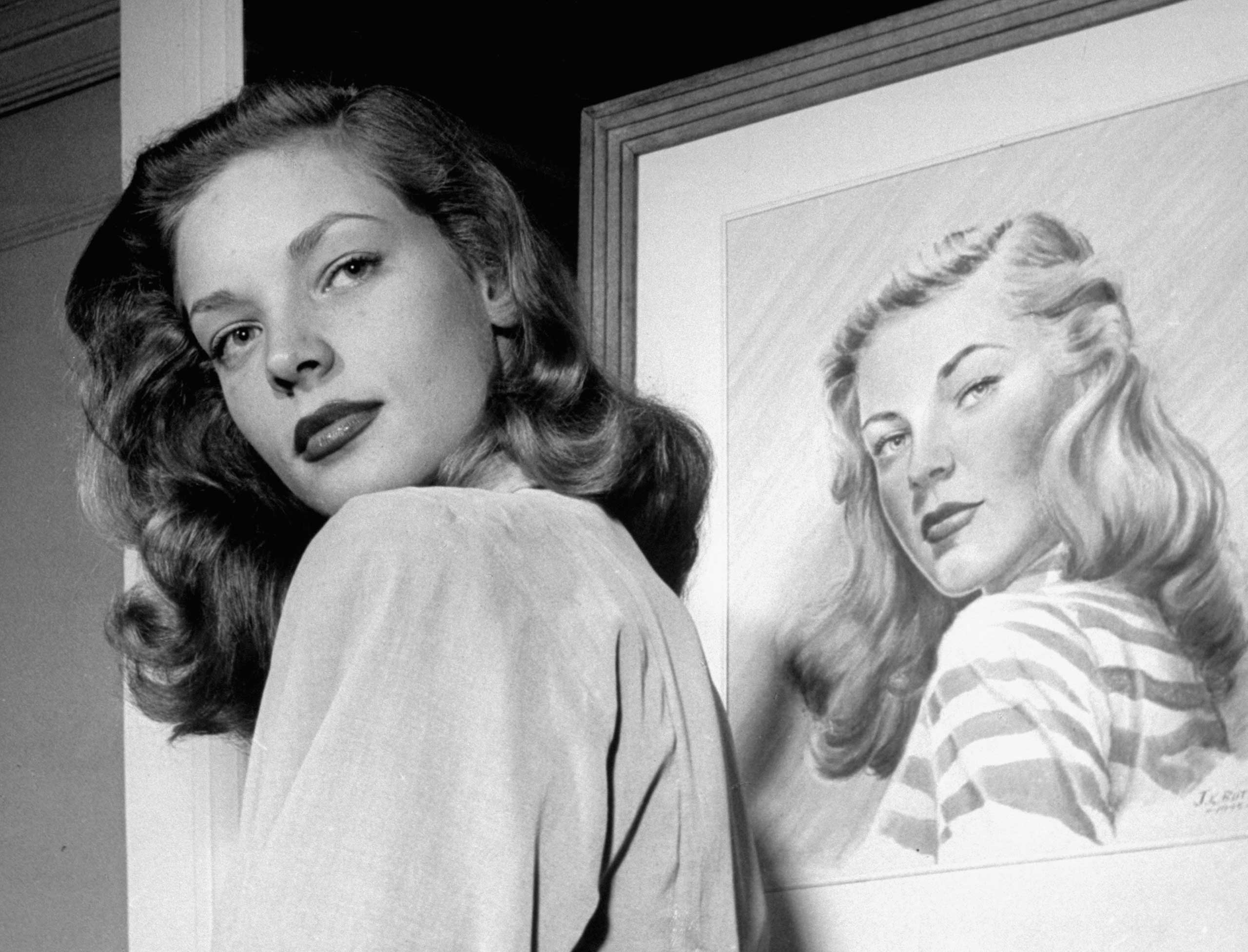 Not originally published in LIFE magazine. Lauren Bacall at Gotham Hotel, New York, 1945.