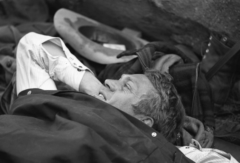 "Steve McQueen in his sleeping bag on a camping trip, 1963. ""This is it, man,"" he told LIFE. ""I'd rather wake up in the middle of nowhere than in any city on earth."""