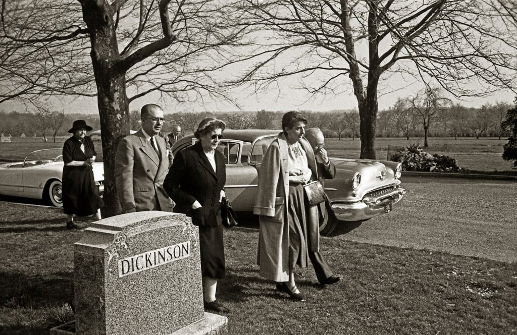 From left: Unidentified woman; Albert Einstein's son, Hans Albert (in light suit); unidentified woman; Einstein's longtime secretary, Helen Dukas (in light coat); and friend Dr. Gustav Bucky (partially hidden behind Dukas) arriving at the Ewing Crematorium, Trenton, New Jersey, April 18, 1955.