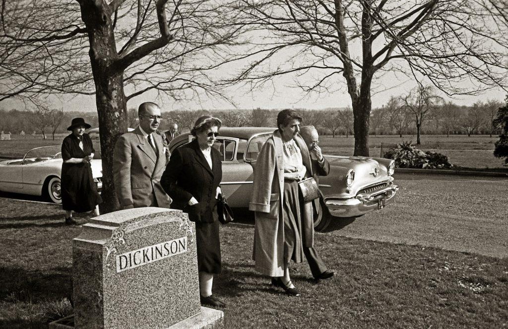 From left: Unidentified woman; Albert Einstein's son, Hans Albert (in light suit); unidentified woman; Einstein's longtime secretary, Helen Dukas (in light coat); and friend Dr. Gustav Bucky (partially hidden behind Dukas) arriving at the Ewing Crematorium, Trenton, New Jersey, April 18, 1955.