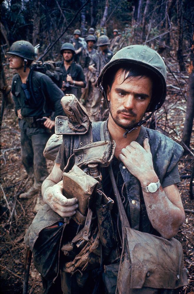 American Marines, Operation Prairie, near the DMZ during the Vietnam War, October 1966.