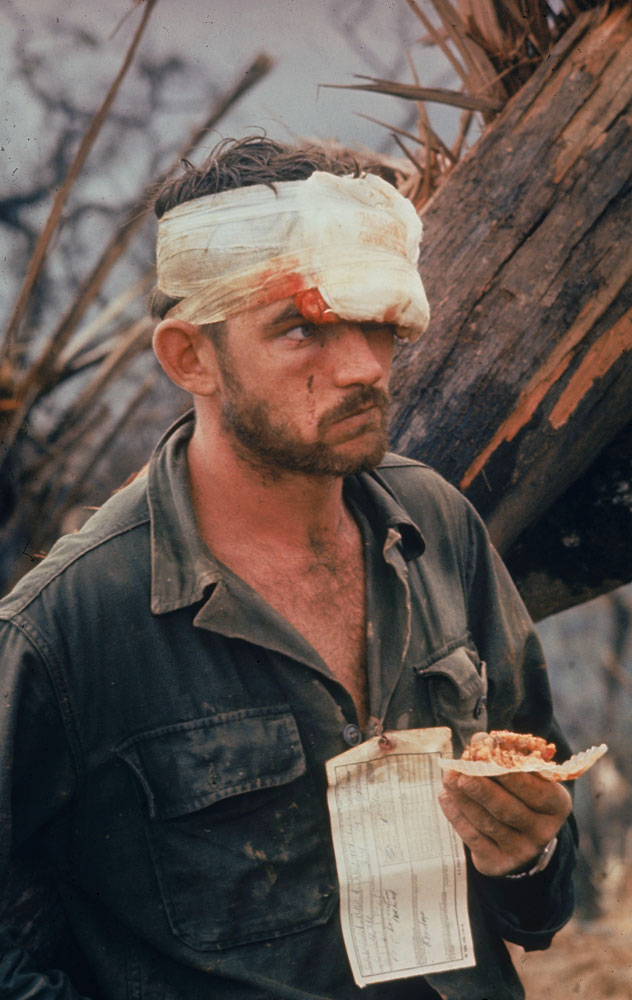 Not published in LIFE. A wounded American Marine, Operation Prairie, near the DMZ during the Vietnam War, October 1966.