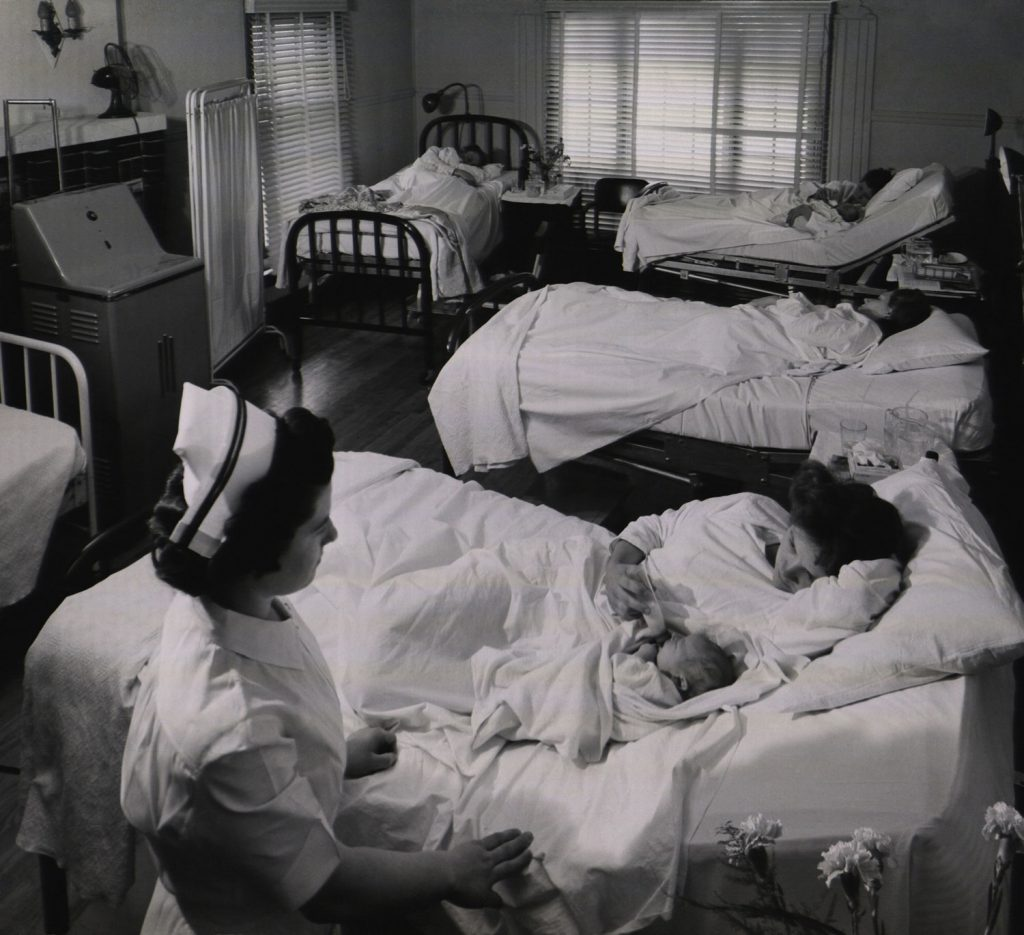 Not published in LIFE. Maternity ward, Kremmling, Colo., 1948.