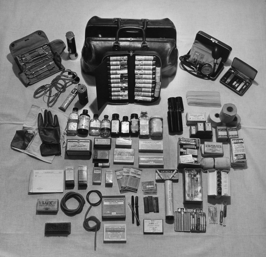 Not published in LIFE. The contents of a country doctor's bag, Kremmling, Colo., 1948.