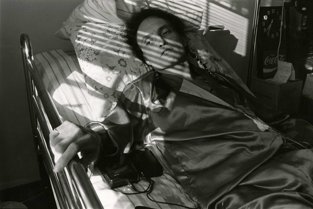 Peta in bed at Pater Noster House, 1992.