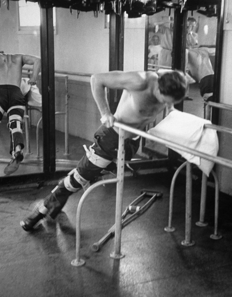 Marlon Brando while training for his role in The Men, at the Birmingham Veterans Administration Hospital, Van Nuys, Calif., 1949.