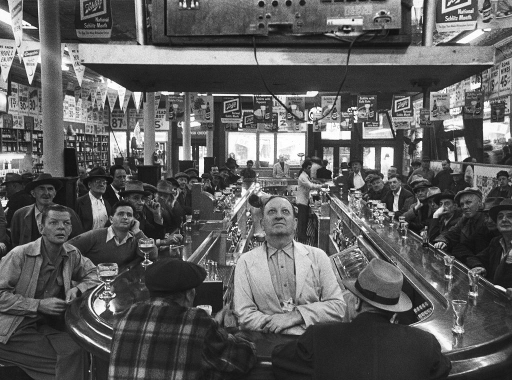 A rapt audience in a Chicago bar watches the 1952 World Series between the Dodgers and Yankees. (The Yankees won.)