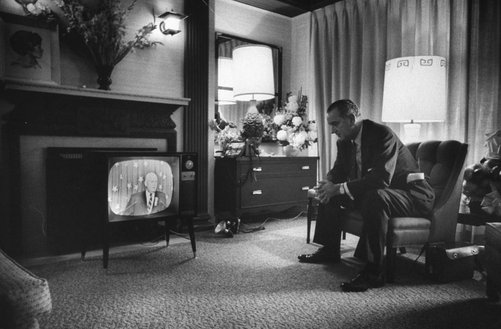 LBJ watches TV during the 1960 Democratic National Convention in Los Angeles.