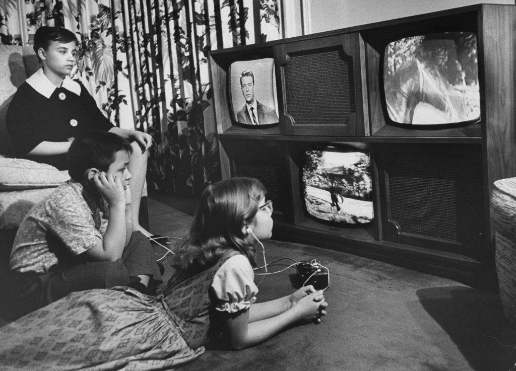 "A ""Three-Eyed TV Monster"" created by Ulises Sanabria which permits simultaneous two- and three-screen viewing, 1961."