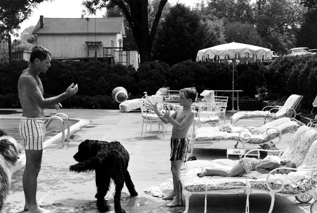 Robert Kennedy at home with some of his kids, 1964.