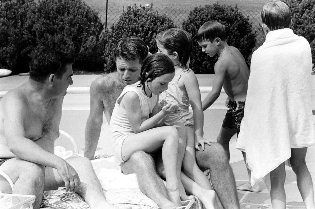 Robert Kennedy, Pierre Salinger and kids at RFK's Virginia home, 1964.