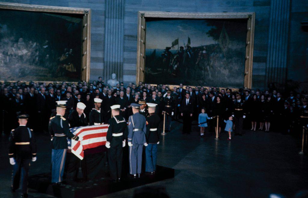 John F. Kennedy's flag-draped casket lies in state in Washington, D.C., November 1963