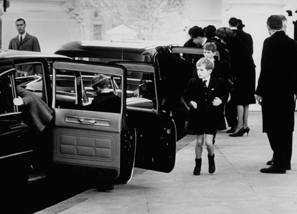 Young Kennedys prepare to leave the White House for John F. Kennedy's funeral, November 25, 1963.