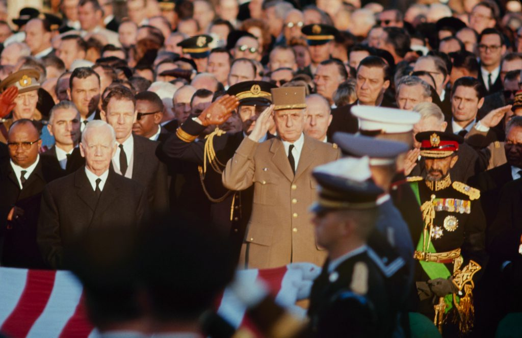As taps sounded, [French] President de Gaulle and [Ethiopian] Emperor Haile Selassie saluted the grave