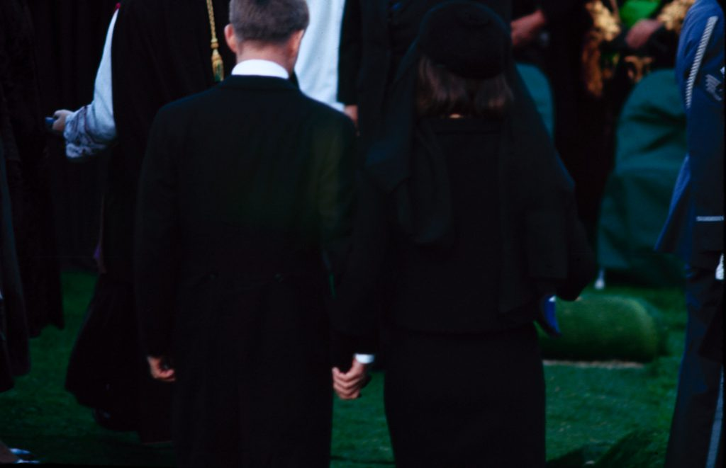 Jacqueline Kennedy and Robert Kennedy at John F. Kennedy's funeral, Arlington Cemetery, November 25, 1963.