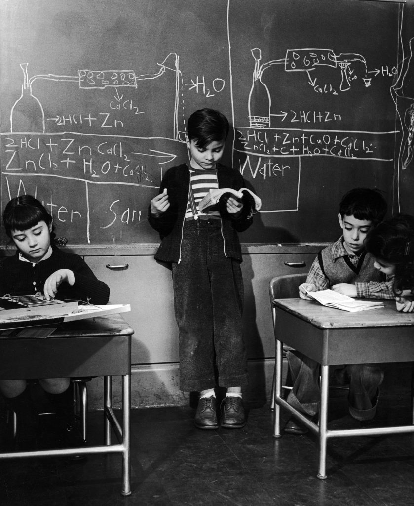 """Photo from a public """"genius school"""" for 3-to-11-year-olds at New York's Hunter College, 1948."""