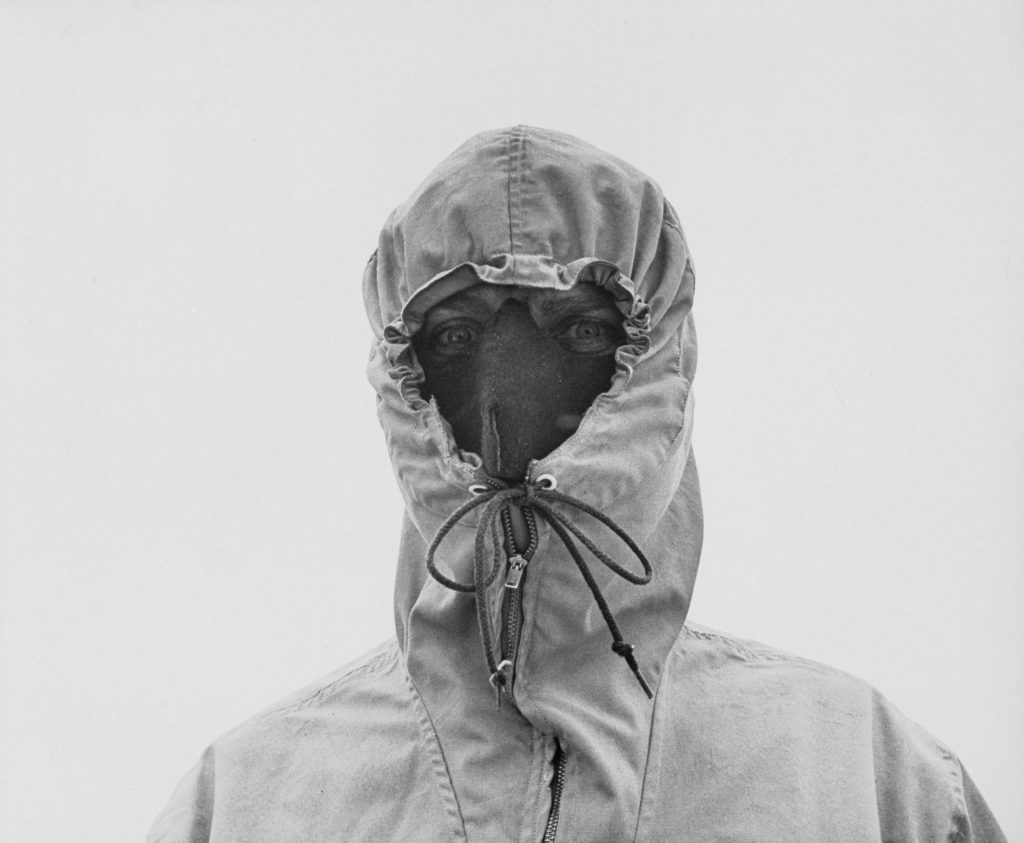 Hooded weather-study team member, New Hampshire's Mount Washington, 1953.