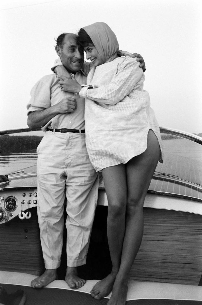 Sophia Loren and LIFE's Eisenstaedt during a boating jaunt off the coast of Naples, 1961.