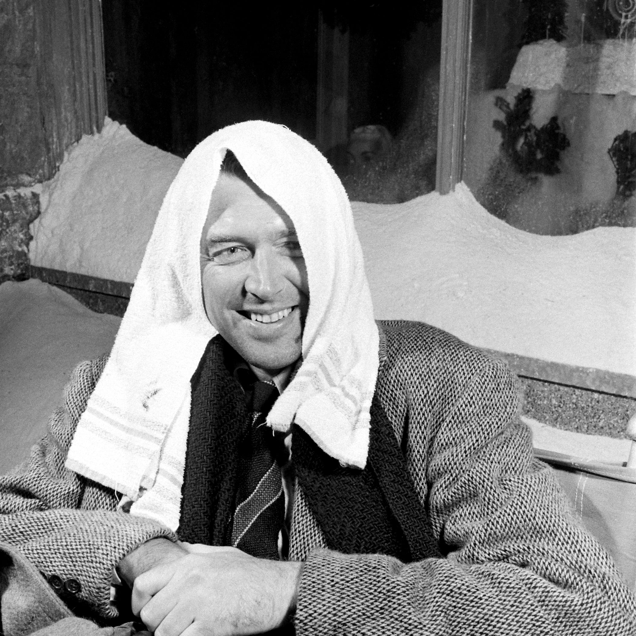 Jimmy Stewart on the set of 'It's a Wonderful Life.'