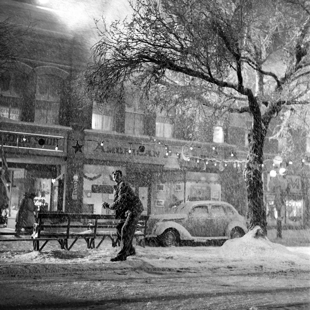 Jimmy Stewart in downtown Bedford Falls, a.k.a., on the set of 'It's a Wonderful Life.'